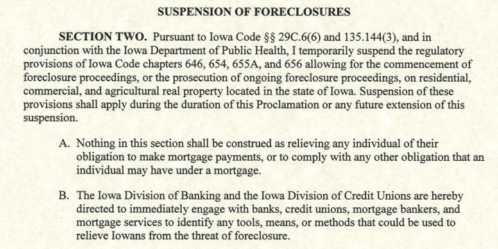 suspension of foreclosures document